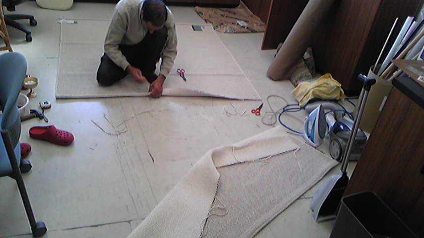 平織カーペットのサイズカット