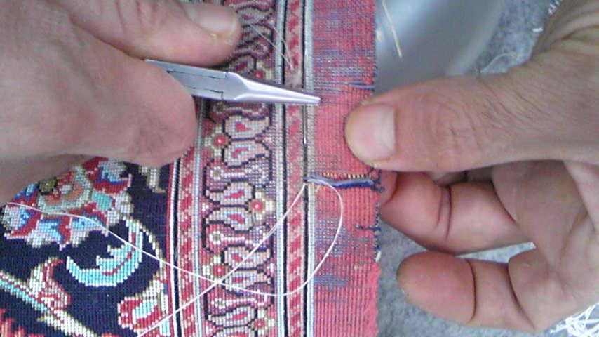シルクペルシャマットの破れ修理