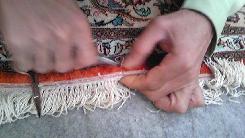 ペルシャジュウタンの平織り修理